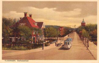 Ansichtkaart Vlissingen Badhuisstraat met Tram en Watertoren HC14049