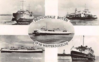 Ansichtkaart Kruiningen - Perkpolder Terneuzen - Hoedekenskerke 1958 Provinciale boten op de Westerschelde Veerpont Schepen Scheepvaart HC14050