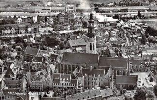 Ansichtkaart Middelburg Abdij 18-7-62 KLM Luchtfoto HC14132