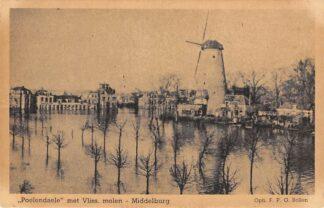 Ansichtkaart Middelburg Poelendaele met Vliss. molen, Watersnood HC14134