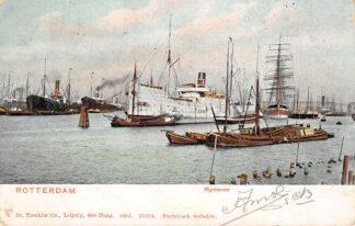 Ansichtkaart Rotterdam Rijnhaven met zeeschip Matina van Elders en Fyffes dat bananen haalde van Santha Martha Scheepvaart 1904 HC14172