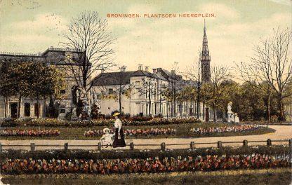 Ansichtkaart Groningen Heereplein Plantsoen 1907 Kleinrondstempel HC14524