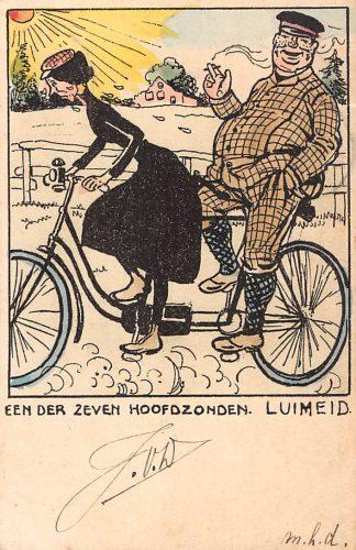 Ansichtkaart Fantasie Humor Een der zeven hoofdzonden. Luiheid. Man en vrouw op fiets 1904 HC14547