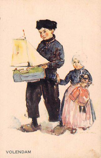 Ansichtkaart Volendam Kinderen in klederdracht 1943 Fantasie HC14550