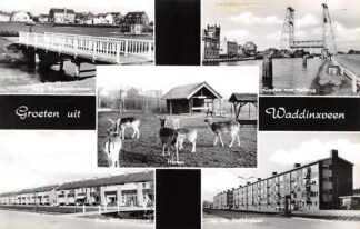 Ansichtkaart Waddinxveen Groeten uit 1964 Burg. Warnaarplantsoen Gouwe met Hefbrug Kon. Wilhelminasingel Jul. van Stolberglaan HC14570