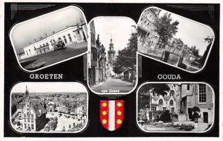 Ansichtkaart Gouda Groeten uit 1958 Station Gouwe Turfmarkt Markt Museumtuin HC14661