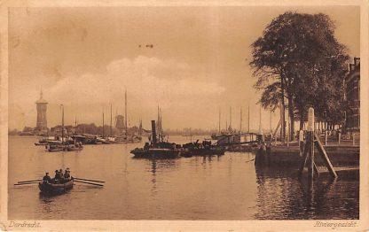 Ansichtkaart Dordrecht Riviergezicht Zwijndrecht Watertoren en molen Binnenvaart schepen Scheepvaart HC14937