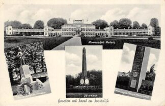 Ansichtkaart Groeten uit Soest en Soestdijk 1939 Koninklijk Paleis De Naald Koningin Emma Monument Monument Christoffel Pullmann HC14976