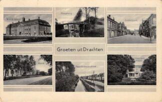 Ansichtkaart Drachten Groeten uit 1933 R.H.B. School Hoogebrug Zuiderbuurt Noord Noorderdwarsstraat Plantsoen Noord HC14982