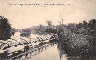 Ansichtkaart Verenigde Staten Waterloo N.Y. Tow Path Bridge over Seneca River Gorham Street USA Noord-Amerika HC15031