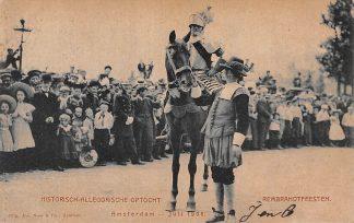 Ansichtkaart Amsterdam Rembrandtfeesten Historisch-Allegorische Optocht Ridder te paard 1906 HC15085