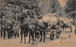 Ansichtkaart Amsterdam Rembrandtfeesten Historische-Allegorische Optocht Bloemencorso Paard en wagen 1906 HC15086