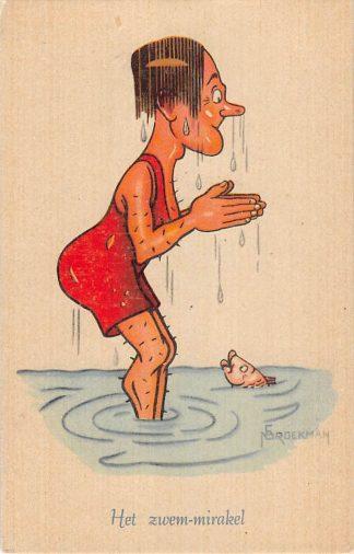 Ansichtkaart Sport Zwemmen Het zwem-mirakel Serie Grooteheden uit de Sportwereld Illustrator Broekman Humor Cartoon HC15125