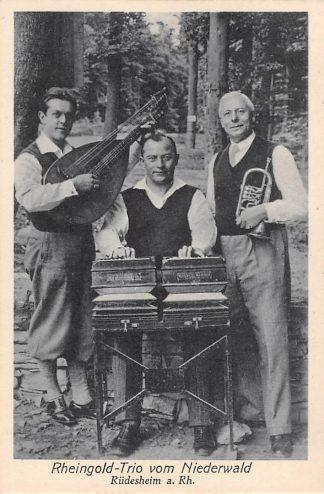 Ansichtkaart Duitsland Rudesheim a. Rhein Rheingold Trio vom Niederwald Muziek Deutschland Europa HC15127