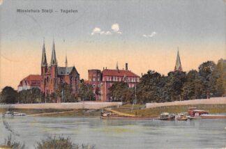 Ansichtkaart Steijl Missiehuis met veerpont Maas en binnenvaart schepen Scheepvaart Tegelen Venlo HC15162