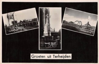 Ansichtkaart Terheijden Groeten uit met Ophaalbrug H. Hart Beeld en Verkeersbrug HC15164