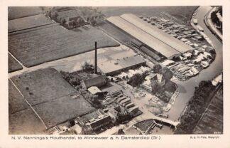 Ansichtkaart Winneweer N.V. Nanninga's Houthandel a.h. Damsterdiep (Gr.) Groningen Loppersum KLM Luchtfoto 8923 HC15184