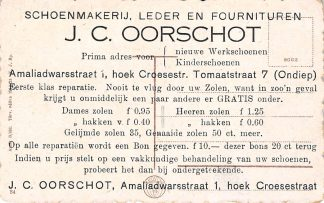 Ansichtkaart Utrecht Reclame J.C. Oorschot Schoenmaker Amaliadawarsstraat 1, hoek Croesestraat Tomaatstraat 7 Andere zijde: Hongarije Budapest Europa HC15239
