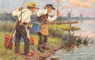 Ansichtkaart Fantasie Sport Vissers Illustator Gerstenhauer Humor HC15242
