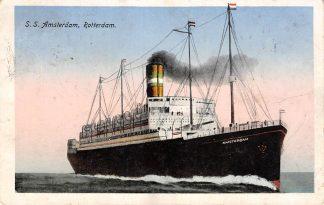 Ansichtkaart Rotterdam S.S. Amsterdam Holland Amerika Lijn Schepen Scheepvaart HC15257