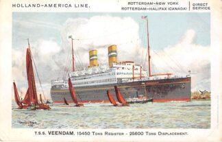 Ansichtkaart Rotterdam t.s.s. Veendam Holland America Line Scheepvaart Schepen HC15316