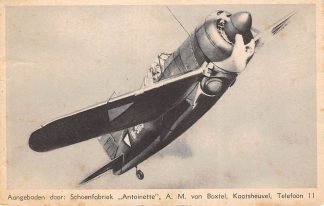 Ansichtkaart Kaatsheuvel Brewster Jacht vliegtuig F 2 A-2 Reclame Schoenfabriek Antoinette A.M. van Boxtel met stempel Schoenenzaak Roelofsen Barteljorisstraat 31 Haarlem Vliegtuigen HC15327
