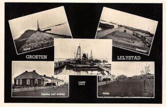 Ansichtkaart Lelystad Groeten uit 1956 Haven Overzicht Cantine Kamp Werhaven HC15330