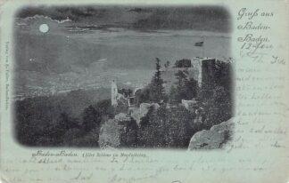 Ansichtkaart Duitsland Baden-Baden 1898 Altes Schloss in Mondschein Deutschland Europa Kleinrondstempel HC15353