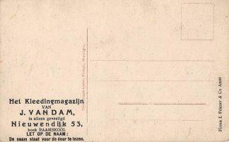 Ansichtkaart Amsterdam Reclame Kleedingmagazijn J. van Dam Nieuwendijk 53 Andere zijde Dieblich a.d. Mosel Duitsland Deutschland Europa HC15360