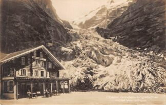 Ansichtkaart Zwitserland Hasliberg Oberer Grindelwaldgletscher Hotel Wetterhorn Type fotokaart Schweiz Helvetia Switzerland Suisse Europa HC15511