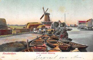 Ansichtkaart Amsterdam Kost verloren Wetering met molen en binnenvaart schepen Scheepvaart 1904 HC15576