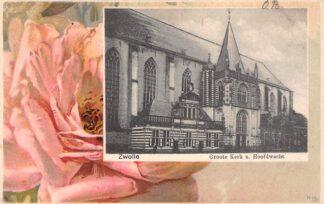 Ansichtkaart Zwolle Groote Kerk u. Hoofdwacht HC15592