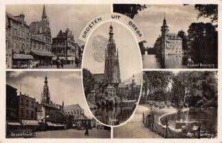 Ansichtkaart Breda Groeten uit 1945 Van Coothplein Groote Markt Toren Kasteel Bouvigne Park Valkenberg HC15609