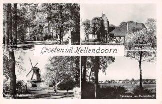 Ansichtkaart Hellendoorn Groeten uit Schuilenburg Molen Ned. Herv. kerk Panorama HC15626