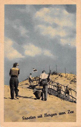 Ansichtkaart Bergen (NH) Groeten uit Bergen aan Zee Door de duinen naar het strand 1954 HC15651