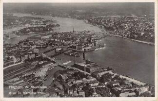 Ansichtkaart Zweden Flugbildo de Stockholm Meze la malnova urbo 1934 Esperanto Sverige Sweden Europa HC15696