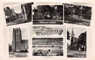 Ansichtkaart Oosterhout (NB) Groeten uit met Kerkstraat Heuvel met stadhuis Ingang Park Toren Natuurbad De Warande en H. Hart Kerk HC15723