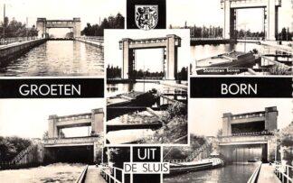 Ansichtkaart Born Groeten uit de sluis Binnenvaart schepen Scheepvaart HC15736