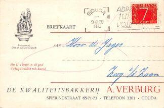 Ansichtkaart Gouda Spieringstraat 65-71-73 Reclame Bakkerij A. Verburg 1953 HC15744