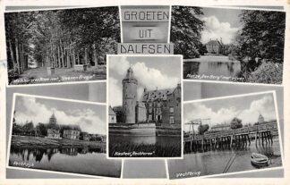 Ansichtkaart Dalfsen Groeten uit 1938 Melkhorster Allee Kasteel Rechteren Huize Den Berg Vechtbrug Vechtdijk HC15841