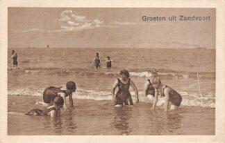 Ansichtkaart Zandvoort Groeten uit 1929 Zwemmers in zee HC15888