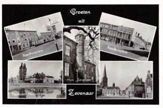 Ansichtkaart Zevenaar Groeten uit 1965 Raadhuisplein Plantsoen Molenstraat Huis Sevenaer Markt Doelenstraat HC15912