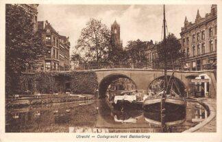 Ansichtkaart Utrecht Oudegracht met Bakkersbrug Binnenvaart schepen Scheepvaart 1931 HC15918