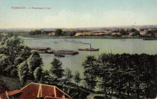 Ansichtkaart Nijmegen Panorama Lent Binnenvaart schepen Scheepvaart 1912 HC16002