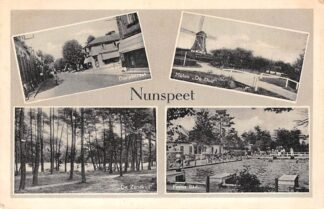 Ansichtkaart Nunspeet Dorpsstraat Molen De Duif De Zandkuil Zwembad Pesies Bad 1951 HC16029