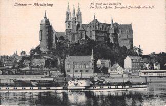 Ansichtkaart Duitsland Meissen Albrechtsburg An Bord des Dampfers Kronprinz der Sachs-Bohm. Dampschiffahrts-Gesellschaft Scheepvaart Deutschland Europa HC16130