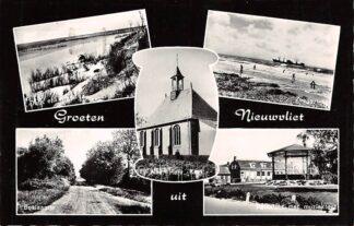 Ansichtkaart Nieuwvliet Groeten uit 1966 Duin en strand Zeegezicht Boslaantje Parkzicht met muziektent Hervormde Kerk HC16154