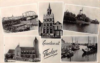 Ansichtkaart Tholen Groeten uit 1958 Brug Stadhuis Molen Haven en Kerk HC16157