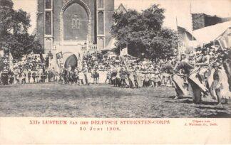 Ansichtkaart Delft XIIe Lustrum van het Delftsch Studenten-corps 30 juni 1908 op de Markt HC16168