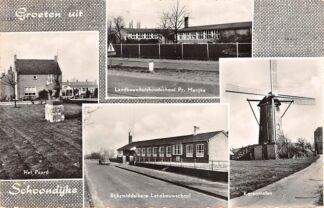 Ansichtkaart Schoondijke Groeten uit Landbouwhuishoudschool Het Paard Koren molen Rijksmiddelbare Landbouwschool HC16178